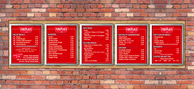 custom backlit menu boards