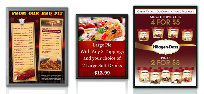 menu board snap frame graphic holders